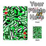 Ribbon Chaos Green Playing Cards 54 Designs  Front - Heart4