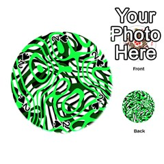 Ribbon Chaos Green Playing Cards 54 (Round)