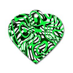 Ribbon Chaos Green Dog Tag Heart (Two Sides)