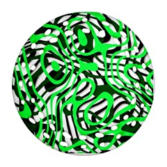 Ribbon Chaos Green Round Filigree Ornament (2Side)