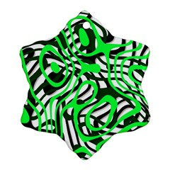 Ribbon Chaos Green Snowflake Ornament (2-Side)