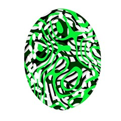 Ribbon Chaos Green Oval Filigree Ornament (2-Side)