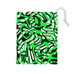 Ribbon Chaos Green Drawstring Pouches (Large)