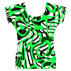 Ribbon Chaos Green Women s Cap Sleeve Top