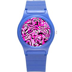 Ribbon Chaos Pink Round Plastic Sport Watch (S)