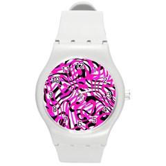 Ribbon Chaos Pink Round Plastic Sport Watch (M)