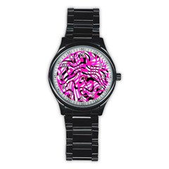 Ribbon Chaos Pink Stainless Steel Round Watches