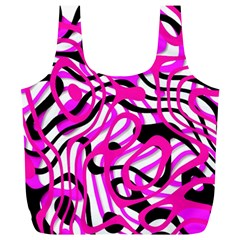 Ribbon Chaos Pink Full Print Recycle Bags (L)