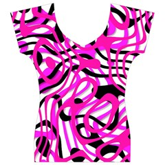 Ribbon Chaos Pink Women s V-Neck Cap Sleeve Top
