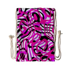 Ribbon Chaos Pink Drawstring Bag (Small)