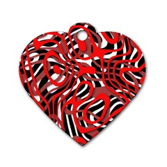 Ribbon Chaos Red Dog Tag Heart (One Side)