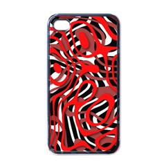 Ribbon Chaos Red Apple iPhone 4 Case (Black)