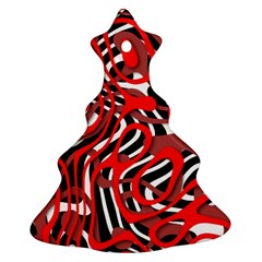Ribbon Chaos Red Christmas Tree Ornament (2 Sides)