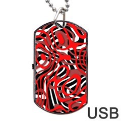 Ribbon Chaos Red Dog Tag Usb Flash (two Sides)