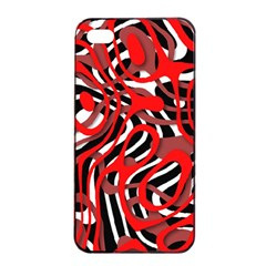 Ribbon Chaos Red Apple iPhone 4/4s Seamless Case (Black)