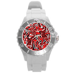 Ribbon Chaos Red Round Plastic Sport Watch (l)