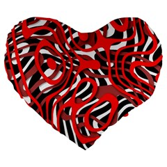 Ribbon Chaos Red Large 19  Premium Heart Shape Cushions