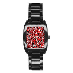 Ribbon Chaos Red Stainless Steel Barrel Watch
