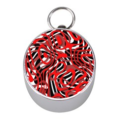 Ribbon Chaos Red Mini Silver Compasses