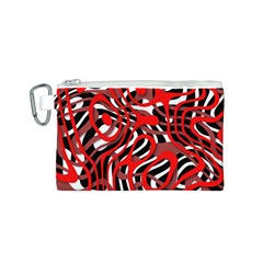Ribbon Chaos Red Canvas Cosmetic Bag (S)