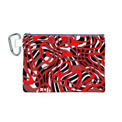 Ribbon Chaos Red Canvas Cosmetic Bag (M)
