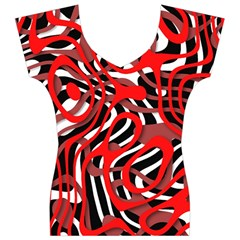 Ribbon Chaos Red Women s V-Neck Cap Sleeve Top