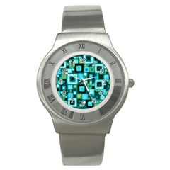 Teal Squares Stainless Steel Watches