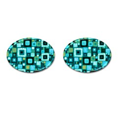Teal Squares Cufflinks (Oval)