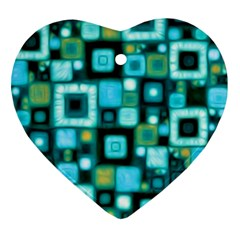 Teal Squares Heart Ornament (2 Sides)