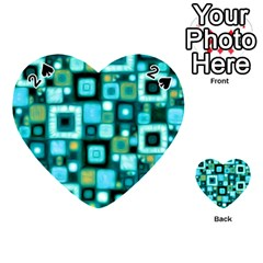 Teal Squares Playing Cards 54 (Heart)