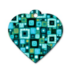 Teal Squares Dog Tag Heart (two Sides)