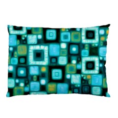 Teal Squares Pillow Cases