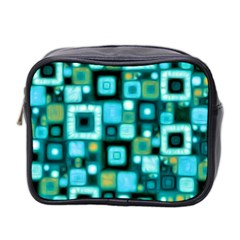 Teal Squares Mini Toiletries Bag 2-Side