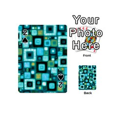 Teal Squares Playing Cards 54 (mini)