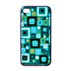 Teal Squares Apple iPhone 4 Case (Black)