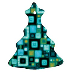 Teal Squares Christmas Tree Ornament (2 Sides)