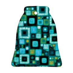 Teal Squares Bell Ornament (2 Sides)