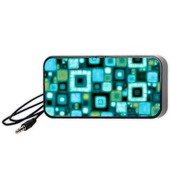 Teal Squares Portable Speaker (Black)