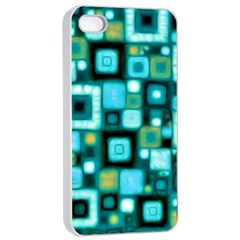 Teal Squares Apple Iphone 4/4s Seamless Case (white)
