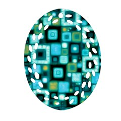 Teal Squares Ornament (Oval Filigree)