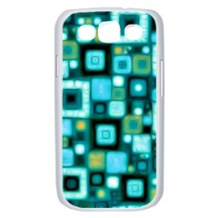Teal Squares Samsung Galaxy S III Case (White)