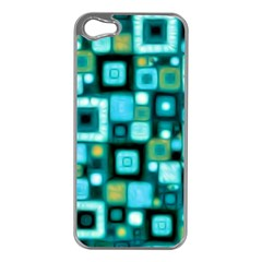 Teal Squares Apple iPhone 5 Case (Silver)