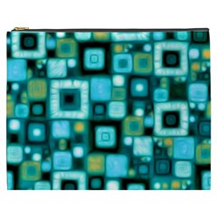 Teal Squares Cosmetic Bag (XXXL)