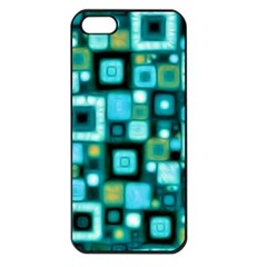 Teal Squares Apple iPhone 5 Seamless Case (Black)