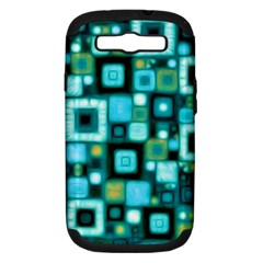 Teal Squares Samsung Galaxy S III Hardshell Case (PC+Silicone)