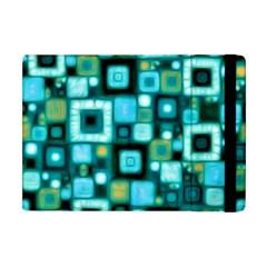 Teal Squares Apple iPad Mini Flip Case