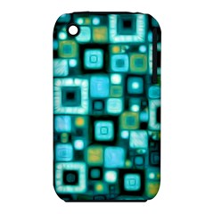 Teal Squares Apple iPhone 3G/3GS Hardshell Case (PC+Silicone)