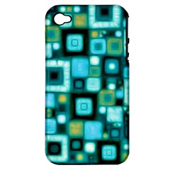 Teal Squares Apple iPhone 4/4S Hardshell Case (PC+Silicone)