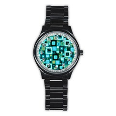 Teal Squares Stainless Steel Round Watches