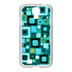 Teal Squares Samsung GALAXY S4 I9500/ I9505 Case (White)